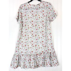 ASOS white floral short sleeve babydoll dress 9705
